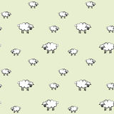 Vector illustration of sheeps pattern; green background. Vector illustration of a white sheep pattern, on light green background Royalty Free Stock Photography