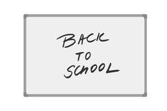 Vector illustration of whiteboard with handwritten text Back to school  Royalty Free Stock Photo