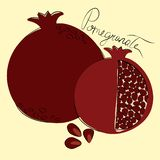 Vector illustration of whole and cut pomegranates on pastel yellow background stock illustration