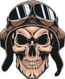 Skull in helmet pilot Stock Photos