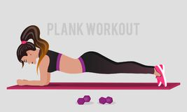 Vector illustration wiith girl and stability ball in flat style. Vector illustration wiith girl, plank workout in flat style. Woman doing exercise in fitness Royalty Free Illustration