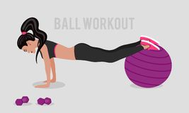 Vector illustration wiith girl and stability ball in flat style. Royalty Free Stock Images