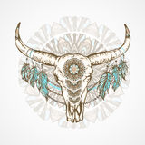 Vector illustration with a wild buffalo skull with decorative patterns. Royalty Free Stock Images