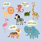Zoo wild animals making characteristic sounds. Vector illustration of wild zoo exotic animals that are making sounds . Zebra, lion, tiger, elephant, monkey Royalty Free Stock Photography