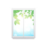 Vector illustration of window   with leave Royalty Free Stock Images