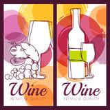 Vector illustration of wine bottle, glass, branch of grape and c Royalty Free Stock Images