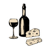 Vector illustration of wine bottle, glass and cheese. Hand sketched food and drink set. Menu design for cafe, bar etc. Stock Photo
