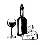 Vector illustration of wine bottle, glass and cheese. Hand sketched food and drink set. Menu design for cafe, bar etc. Royalty Free Stock Photo