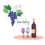 Vector illustration  of wine bottle, two wine glasses Stock Photos