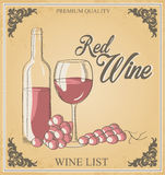 Vector illustration, wine bottle, wine glass with grapes. Words Royalty Free Stock Photos
