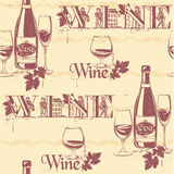 Vector illustration of wine bottles and glasses. Seamless vintag Stock Image