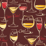 Vector illustration of wine glasses. Seamless pattern. Royalty Free Stock Photos