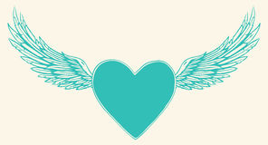 Vector illustration of winged heart Royalty Free Stock Photos