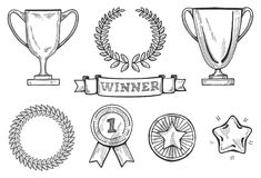 Winners icons set. Vector illustration of winners icons set. Cups, medals, star and laurel wreaths. Vintage hand drawn engraving style Stock Image