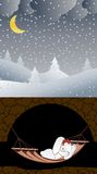 Vector illustration. Winter. Bunny. Sweet dream. royalty free stock photography