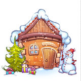 Vector illustration of winter cartoon home with Royalty Free Stock Photo