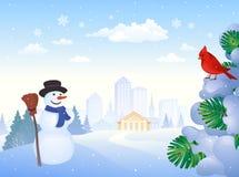 Winter city park vector illustration