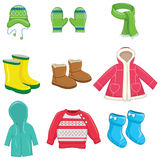 Vector Illustration Of Winter Clothes Royalty Free Stock Image