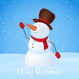 Vector illustration: Winter greeting card with snowman on snowy hills background. Merry Christmas.  Stock Images