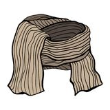 Vector illustration of a winter knitted scarf. Brown coffee range. Stock Photography