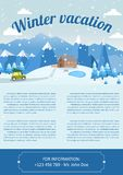 Vector illustration of winter landscape. Brochure design template. Vector Illustration of winter landscape background with pines, house and snowflakes Royalty Free Stock Image