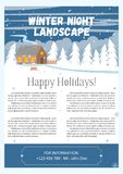 Vector illustration of winter landscape. Brochure design template. Vector Illustration of winter landscape background with pines, house and snowflakes Stock Photography