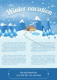 Vector illustration of winter landscape. Brochure design template. Vector Illustration of winter landscape background with pines, house and snowflakes Stock Image