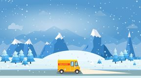 Vector illustration of winter landscape with delivery cargo van. Pines and snowflakes Stock Images