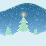 Vector illustration of winter landscape with fir-tree Royalty Free Stock Image