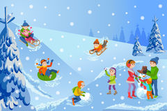 Vector illustration of winter landscape happy children playing with snowman walking outdoor. Royalty Free Stock Photography