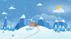 Vector illustration of winter landscape. With house and road, pines and snowflakes Royalty Free Stock Photography