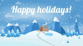 Vector illustration of winter landscape. With house and road, pines and snowflakes Stock Images