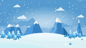 Vector illustration of winter landscape. With pines and snowflakes Stock Photos