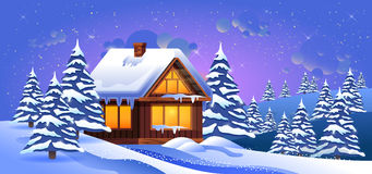 Vector illustration of a winter landscape with snow drifts. Stock vector illustration of a winter landscape with snow drifts, fir trees, wooden house at sunset Stock Photography