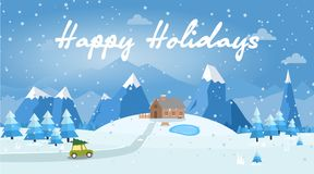 Vector illustration of winter landscape. With car, house,  pines and snowflakes Royalty Free Stock Photography