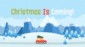 Vector illustration of winter landscape. With car, pines and snowflakes Stock Photography