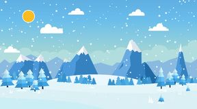 Vector illustration of winter landscape. With pines and snowflakes Royalty Free Stock Photography