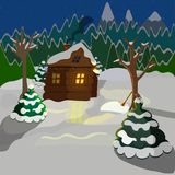 of a winter landscape, a wooden house on the background of the forest and mountains royalty free illustration