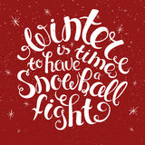 Vector illustration of winter lettering. Hand Stock Images