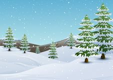 Winter mountains landscape with fir trees and falling snow stock illustration