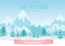 Vector Illustration of Winter Mountains landscape with pine forest and Merry Christmas text. Greeting Christmas card. Vector Illustration of Winter Mountains Royalty Free Stock Images