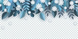 Vector illustration of winter natural border frame on transparent background. Vector illustration of winter natural border frame with blue tree leaves and white vector illustration