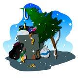 Vector illustration winter night. Vector illustration flat design burglar funny character cartoon character illustration vector art winter night christmas Stock Photos