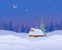 Winter cabin background. Vector illustration of a winter night landscape with a snow covered log cabin stock illustration