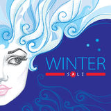 Vector illustration with winter sale in blue and red, swirls, snowflakes and half dotted girl face on blue background. Royalty Free Stock Photo