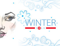 Vector illustration with winter sale in blue and red, swirls, snowflakes and half dotted girl face on white background. Royalty Free Stock Photo