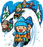 Vector illustration with a winter scene with kids playing Royalty Free Stock Images
