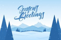 Vector Illustration. Winter Snowy Landscape With Hand Drawn Lettering Of Season`s Greetings, Pines And Mountains Stock Images