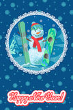 Vector illustration winter sport card congratulation new year. Snowman with ski and snowboard isolated on white Royalty Free Stock Photography