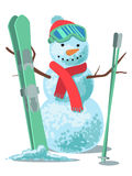 Vector illustration winter sport. Snowman with ski isolated on white background. Snowman with ski isolated on white background Stock Photography